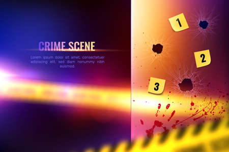 Criminalistic detective composition of realistic bloody spots and numbered bullet holes on blurry background with text vector illustration
