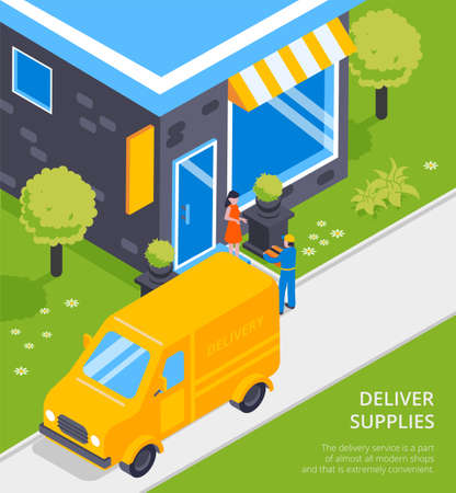 Logistical chain supplies transportation service isometric composition with yellow van courier delivers parcel to customer vector illustration