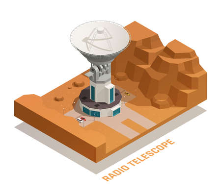 Astronomy isometric concept with 3d professional radio telescope of big size on roof of building vector illustration