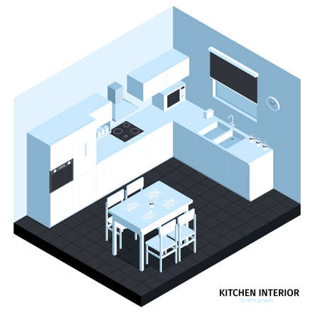 Isometric kitchen composition with cubic view of room with clean furniture cooking machines sink and table vector illustration