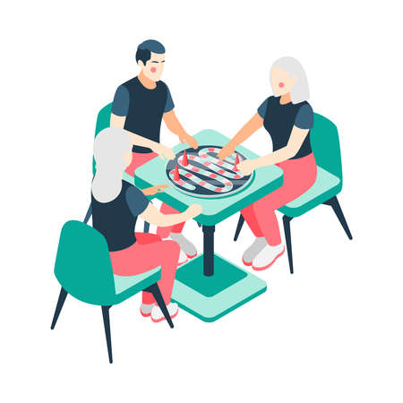 Board games isometric with playing couples families vector illustration