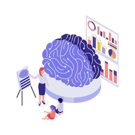 STEM education 3d concept with students using model to study human brain isometric vector illustration