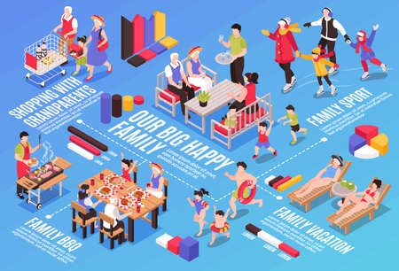 Isometric generation family horizontal composition with flowchart graph elements text and characters of family members together vector illustration