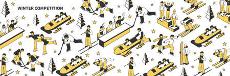 Isometric seamless pattern with athletes participating in winter sports competitions 3d vector illustration
