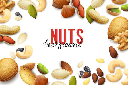 White background with frame of various realistic nuts and seeds vector illustration