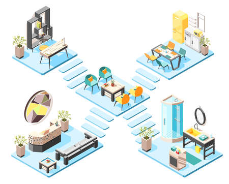 Hostel isometric design concept set with elements and furniture of hall reception bathroom isometric interiors vector illustration