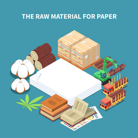 Paper production isometric background with raw wood materials and machinery for timber harvesting vector Illustration