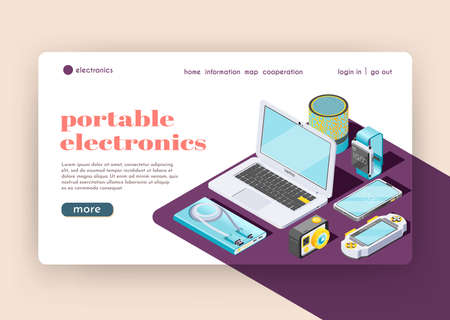 Portable electronics landing page representing smart gadgets and digital tools and accessories for their use isometric vector illustration