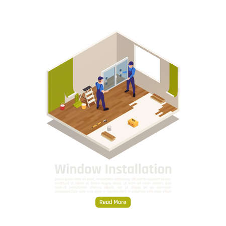 House apartment room renovation remodeling isometric interior view with pvc glass window installation web page vector illustration