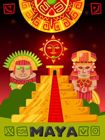 Maya civilization vertical poster with doodle images of mayan idols tribal clothes and golden pyramid building vector illustration