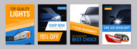 Set of four realistic auto headlights advertising banners with editable text and images of car parts vector illustration