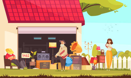 Garage sale background with furniture and accessory symbols flat vector illustration Ilustración de vector