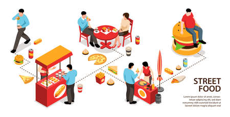 Isometric street food infographics with editable text and isolated food stalls counters with food and people vector illustration
