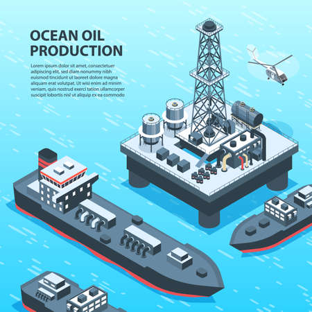 Isometric oil petroleum industry background with outdoor view of off-shore petrol production units and text vector illustration
