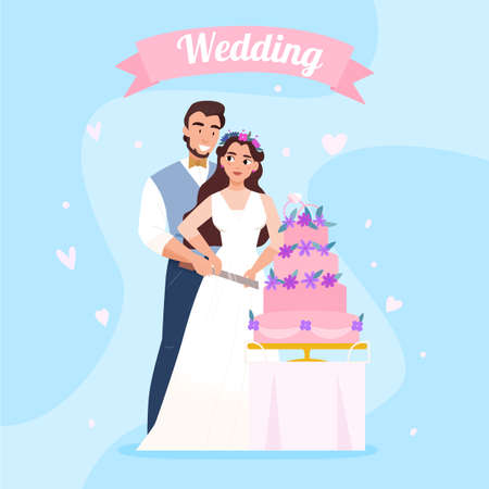 Marriage reception beautiful background composition with bride and groom together cutting piece of wedding cake vector illustration