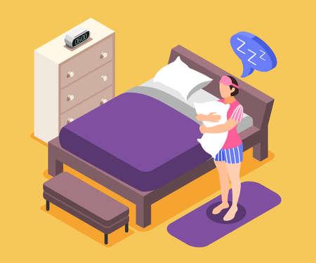 Human needs isometric composition with sleeping need symbols vector illustration