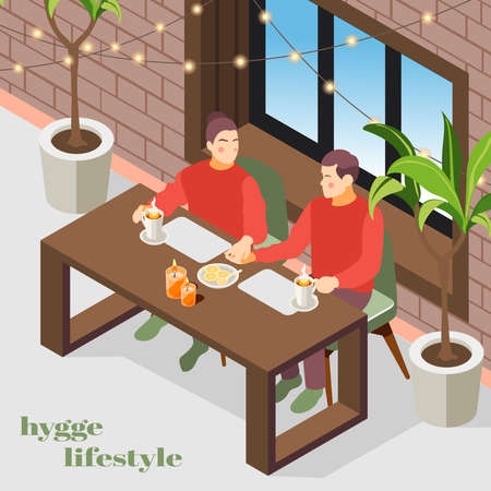 Hygge lifestyle isometric composition with danish cozy apartment interior lights plants enjoying coffee couple background vector illustration