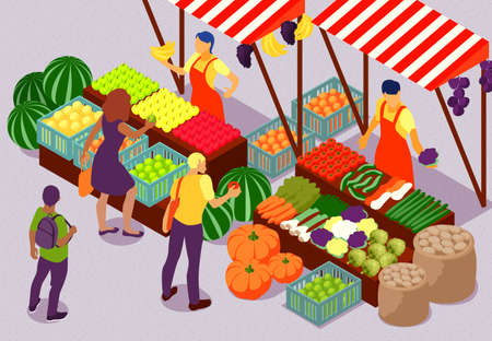 People buying fresh fruit and vegetables at outdoor farm market 3d isometric composition vector illustration