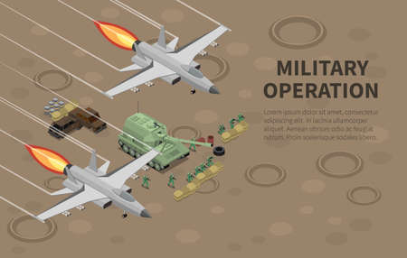 Military air forces airmen units armed equipped for special combat ground operations isometric composition background vector illustration