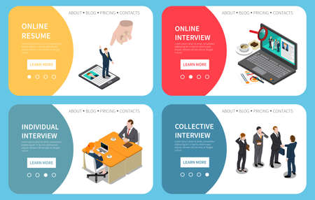 Recruitment hiring hr management 4 isometric banners website design with online resume interview tips isolated vector illustration