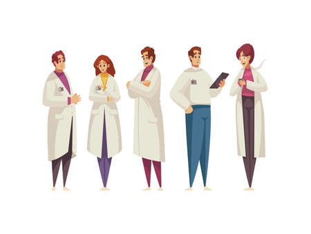Group of doctors in white coats isolated on white background cartoon vector illustration