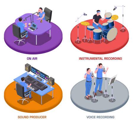 Radio studio concept icons set with voice recording symbols isometric isolated vector illustration