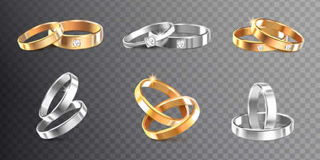 Golden and silver wedding rings decorated with precious stones on transparent background realistic vector Illustration 向量圖像