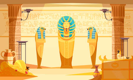 Egyptian burial chamber tomb interior with deceased and ibis bird doll mummies wall etching light vector illustration