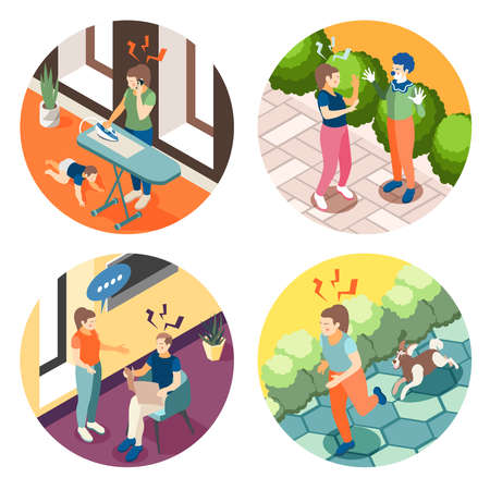 Depression anxiety 4 round isometric composition with relationship problems parenting stress street accidents panic frustration vector illustration Vecteurs
