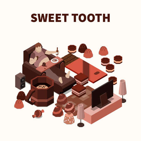 Sweet tooth isomeric background with fat man eating sweets and chocolate production vector illustration Vecteurs