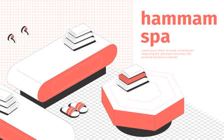 Hammam spa and massage room interior slippers and towels 3d isometric vector illustration Vecteurs