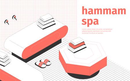 Hammam spa and massage room interior slippers and towels 3d isometric vector illustration Vektorgrafik