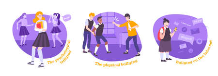 Bullying flat set of three round compositions with text and cartoon style characters of bullied children vector illustration