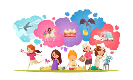 Children dreaming composition with group of doodle kids characters with toys and colourful imagination thought bubbles vector illustration