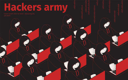 Hackers army isometric background with editable text and human characters of cyber thiefs sitting in rows vector illustration Ilustracja