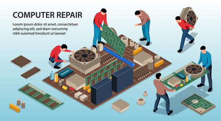 Repair service fixing computer 3d isometric isolated vector illustration Ilustracja