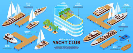 Infographis with various types of yachts boats pier and club building on blue background 3d isometric vector illustration