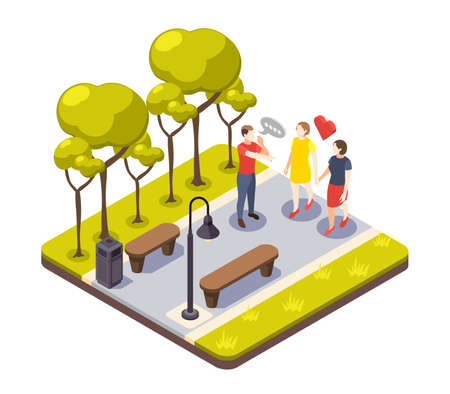 Discrimination isometric composition with outdoor view of urban park and male character shouting to female lovers vector illustration