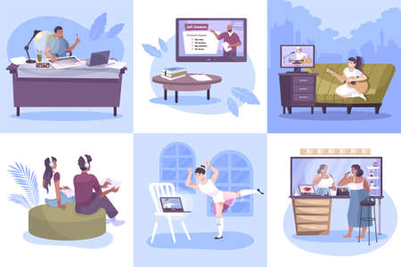 Hobby online set of square compositions with flat human characters practicing at home with remote tutors vector illustration