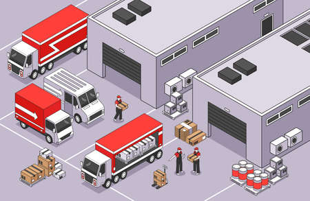 Isometric logistics composition with outdoor scenery of warehouse area with buldings parcel boxes vans and trucks vector illustration