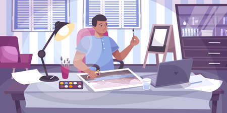 Drawing lessons online flat composition with view of domestic working place with painting guy and laptop vector illustration