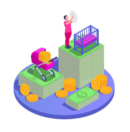 Social security unemployment family benefits isometric composition with circle platform mother with child and money icons vector illustration
