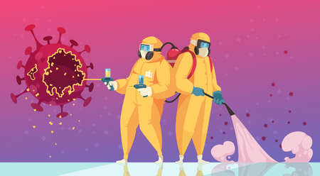 Coronavirus prevent flat colored background with people in protective suits performing disinfection with disinfectant vector illustration