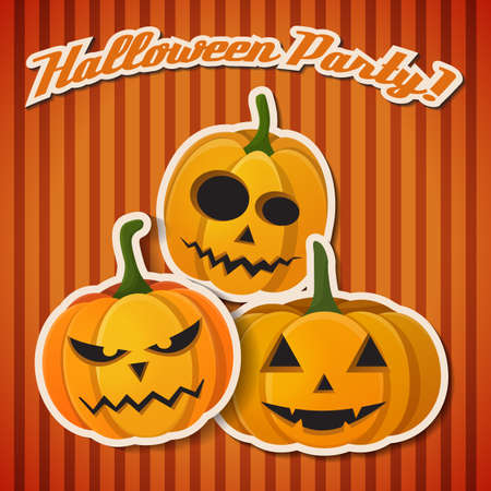 Happy Halloween card with three orange crazy pumpkins have a different mood vector illustration