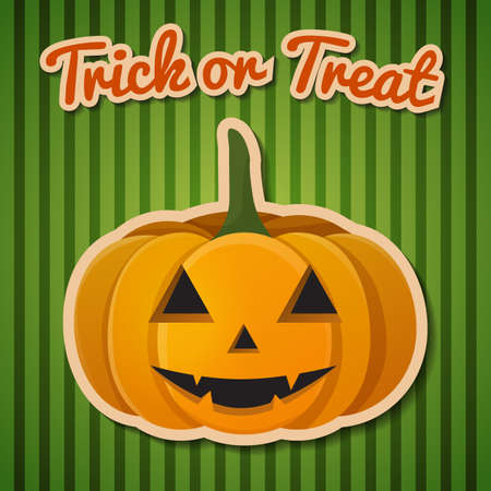Happy Halloween composition with trick or treat headline and cute smiling pumpkin vector illustration