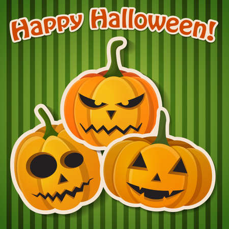 Happy Halloween line poster with green background and three different alive pumpkins vector illustration