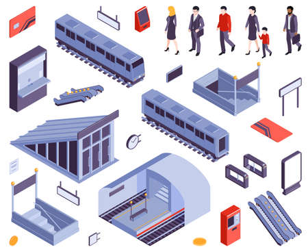 Subway metro stations entry ticket gate exit staircases escalators train carriage railway people isometric set vector illustration