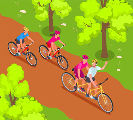 Grandparents and grandchildren isometric background with family cycling symbols vector illustration Ilustracja