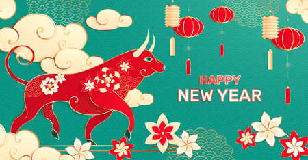 Chinese new year composition with editable text and asian style image of bull with flowers lanterns vector illustration