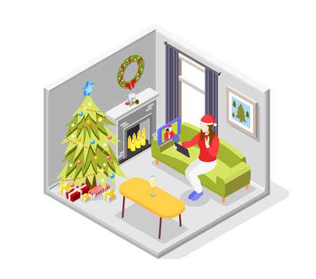 Remote quarantine party isometric concept with new year celebration symbols vector illustration